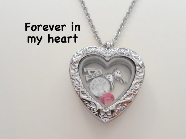 Personalized Forever in My Heart Baby Stainless Steel Floating Memory Heart Locket Necklace with Birthstone and Letter Charm Options, Infant Loss Memorial Necklace