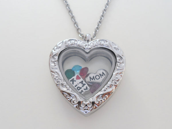 Personalized Large Heart Locket Necklace w/ Silver Design for Mother or Grandma - by Jewelry Everyday