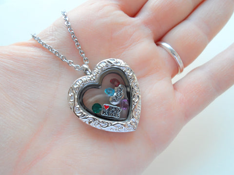 Personalized Silver Design Heart Locket Necklace for Mother or Grandma - by Jewelry Everyday