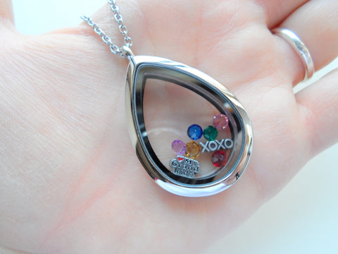 Personalized Stainless Steel Teardrop Locket Necklace for Mother or Grandma - by Jewelry Everyday