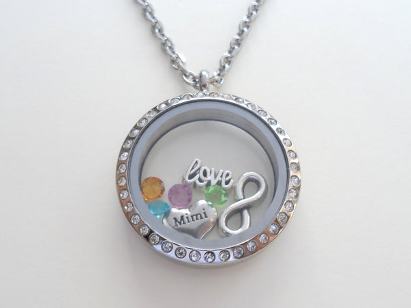 Personalized Large Floating Locket Necklace w/ Clear Crystal Edge for Mother or Grandma - by Jewelry Everyday