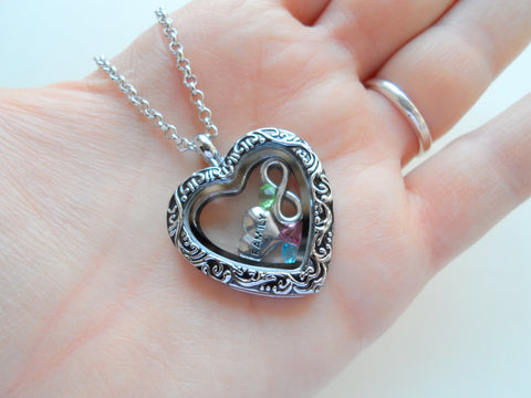 Personalized Large Heart Locket Necklace w/ Black Design for Mother or Grandma - by Jewelry Everyday
