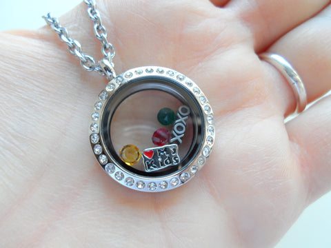 Personalized Stainless Steel Floating Locket Necklace for Mother or Grandma - by Jewelry Everyday