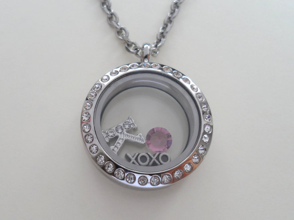 Personalized 25mm Circle Floating Locket Necklace w/ Clear Crystal Edge for Mother or Grandma - by Jewelry Everyday