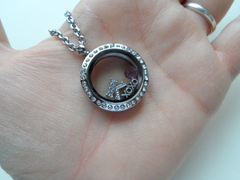 Personalized Floating Locket Necklace w/ Clear Crystal Edge for Mother or Grandma - by Jewelry Everyday