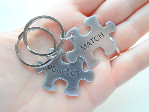 Two Matching Steel Puzzle Keychains -You & Me a Perfect Match; Engraved Couples Keychain, Personalized Option