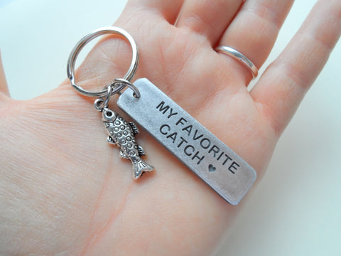 Fish Keychain with My Favorite Catch Engraved Aluminum Tag; Couples Keychain, Personalized Option