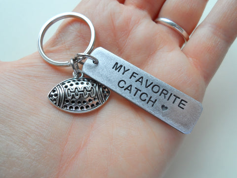 "Aluminum Keychain Tag with Football Charm, Tag Engraved with ""My Favorite Catch""; Couples Keychain, Personalized Option"