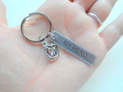 "Firefighter Hat ""My Hero"" Keychain, Engraved Steel Tag Keychain"