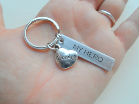 "Grandpa ""My Hero"" Keychain, Engraved Steel Tag Keychain Gift for Grandpa"