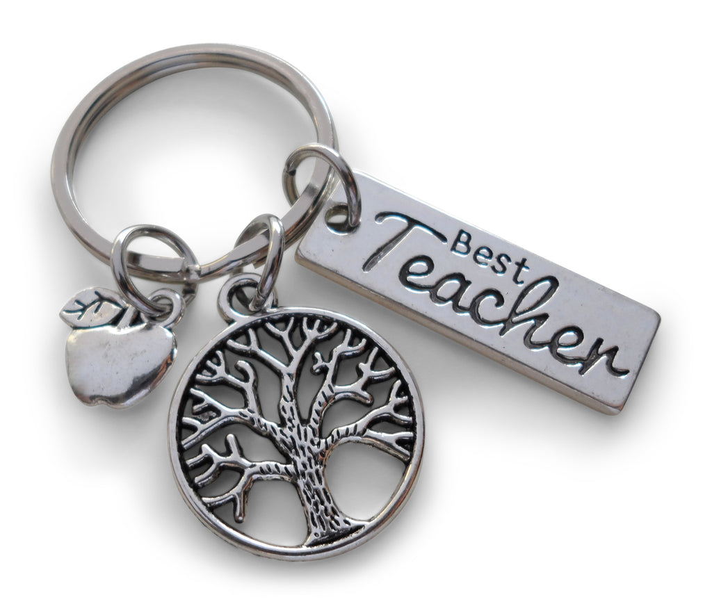 "Teacher Appreciation Gifts • ""Best Teacher"" Charm, Tree & Apple Charm Keychain by JewelryEveryday w/ ""Thanks for helping me grow!"" Card"