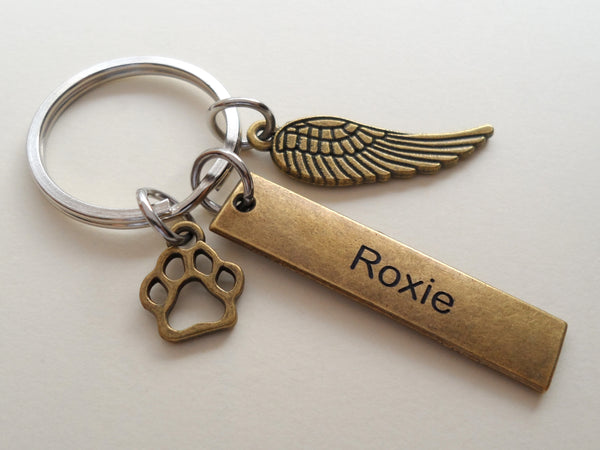 Bronze Charm Dog Memorial Keychain • Custom Engraved Tag with Wing & Paw Charm | JE
