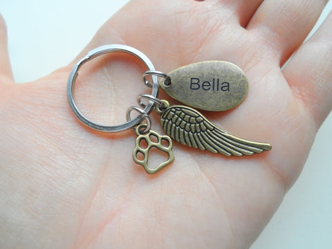 Bronze Charm Dog Memorial Keychain • Custom Engraved Teardrop Shaped Tag with Wing & Paw Charm | JE