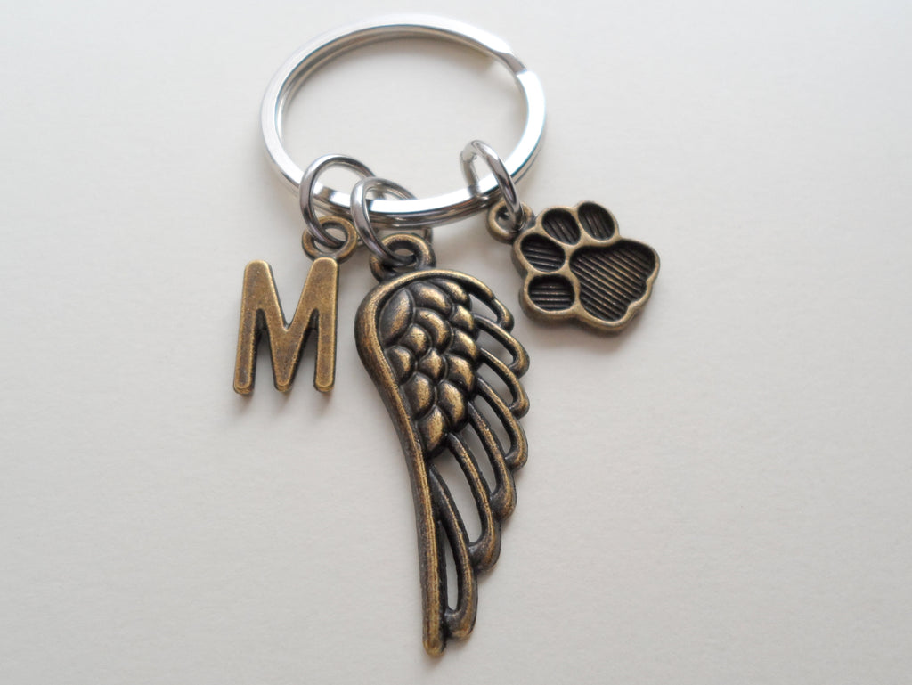 Bronze Dog Memorial Keychain With Custom Letter Charm Options • Cute Wing and Paw Charm | JE