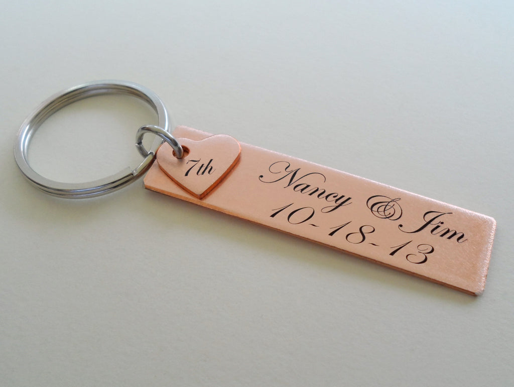 Custom Engraved Copper Rectangle Tag Keychain with Heart, Anniversary Gift Couples Keychain