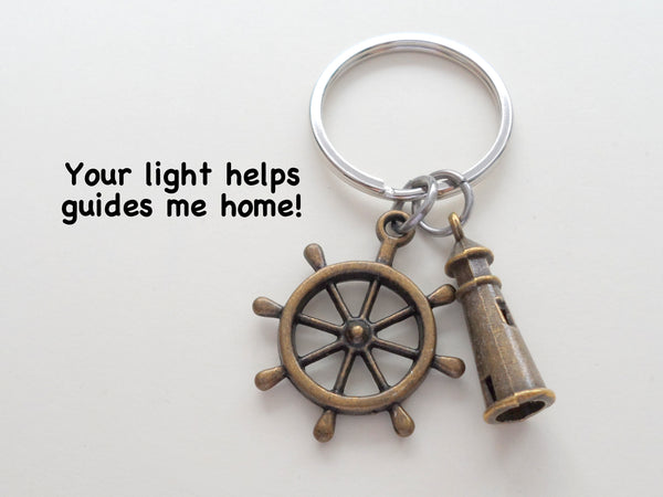 "Bronze Lighthouse Keychain With Ships Helm - ""Your Light Helps Guide Me Home"""