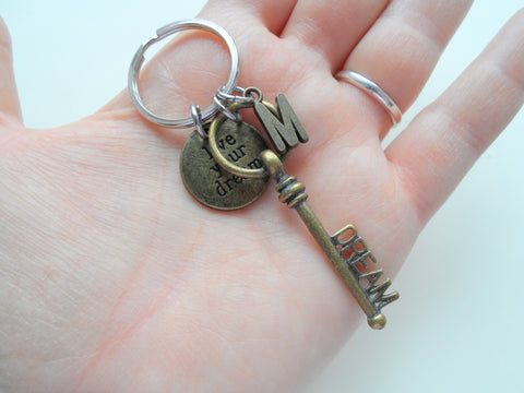 Bronze Dream Key Keychain with Live Your Dream Disc, Graduation Gift Keychain