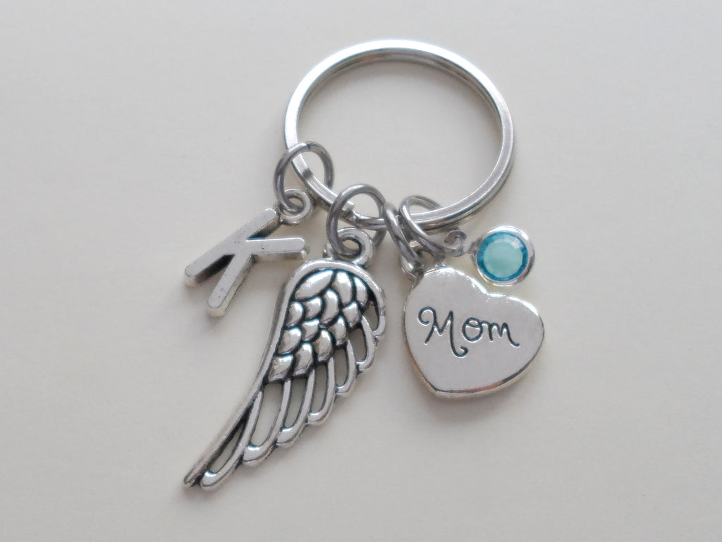 Family Memorial Keychain • Wing Charm with Family Heart Charm, Guardian Angel Keychain | Jewelry Everyday