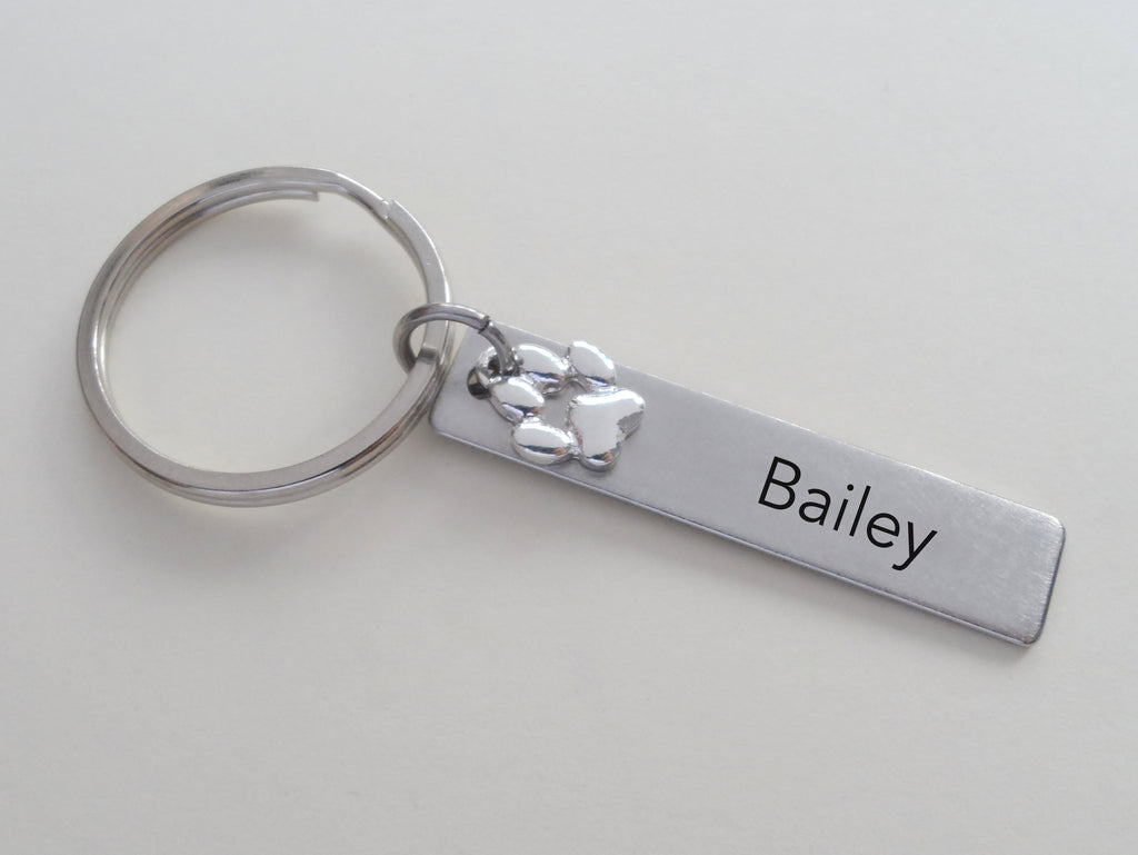 Dog Memorial Keychain • Custom Engraved Tag with Paw Charm | JE