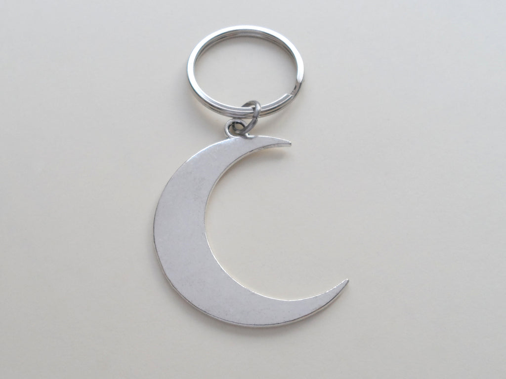 Large Moon Keychain - Love You To The Moon And Back; Couples Keychain