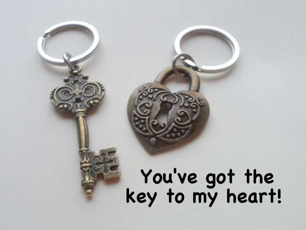 Large Bronze Key and Heart Lock Keychain Set- You've Got The Key To My Heart; 8 Year Aniversary Gift, Couples Keychain Set