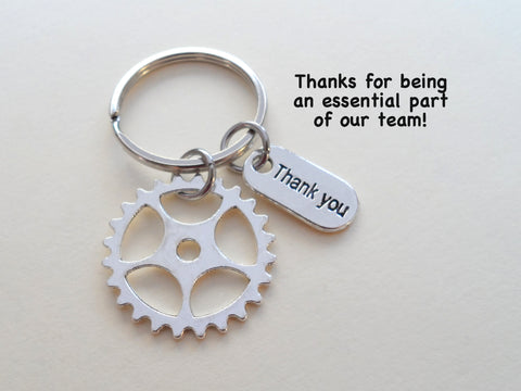 "Employee Appreciation Gifts • ""Thank You"" Tag & Silver Gear Keychain by JewelryEveryday w/ ""Thanks for being an essential part of our team!"" Card"