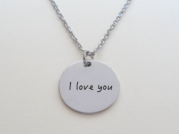 Custom Laser Engraved Handwriting Necklace, Memorial Keepsake, or for Couples Anniversary by Jewelry Everyday