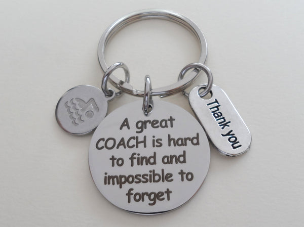 "Swim Coach Appreciation Gift • Engraved ""A Great Coach is Impossible to Forget"" Keychain 