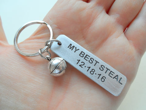 "Personalized Basketball ""My Best Steal"" Engraved on Aluminum Tag Keychain and Basketball Charm Keychain; Couples Keychain, Personalized Option"