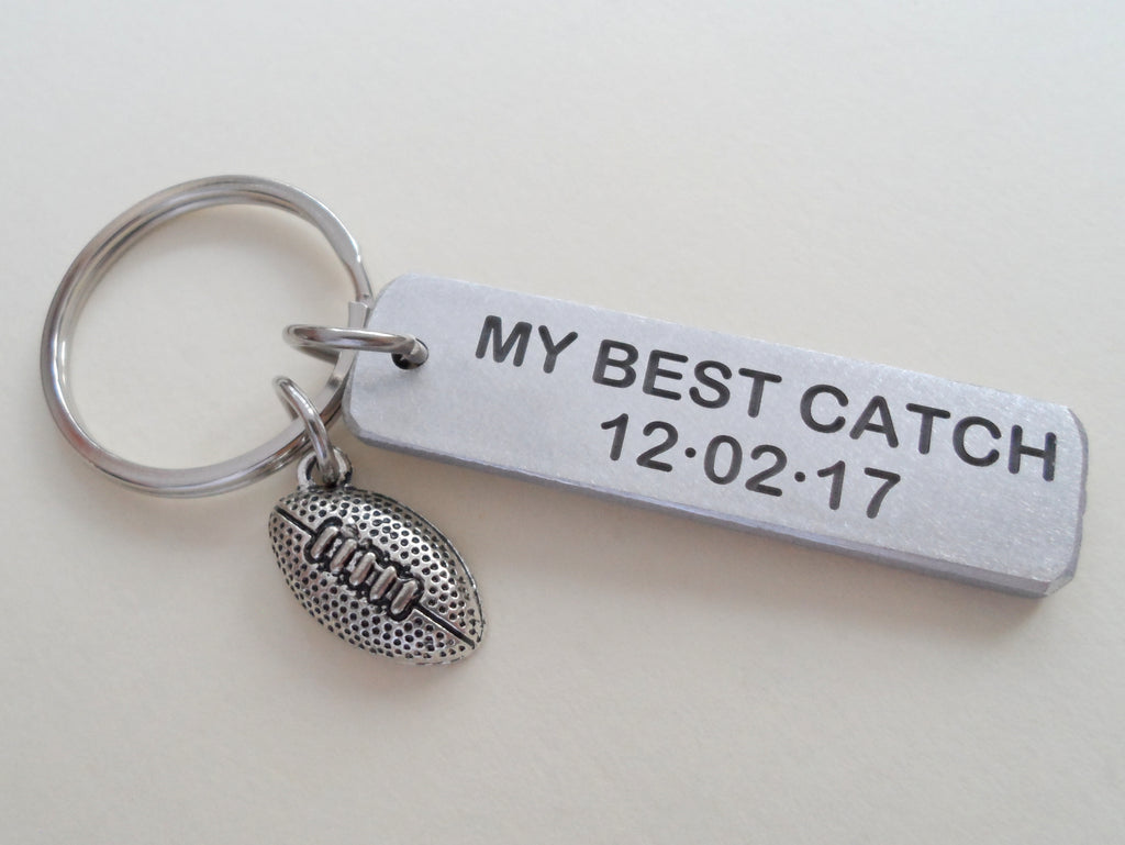 Custom Engraved Aluminum Keychain Tag with Football Charm; Couples Keychain