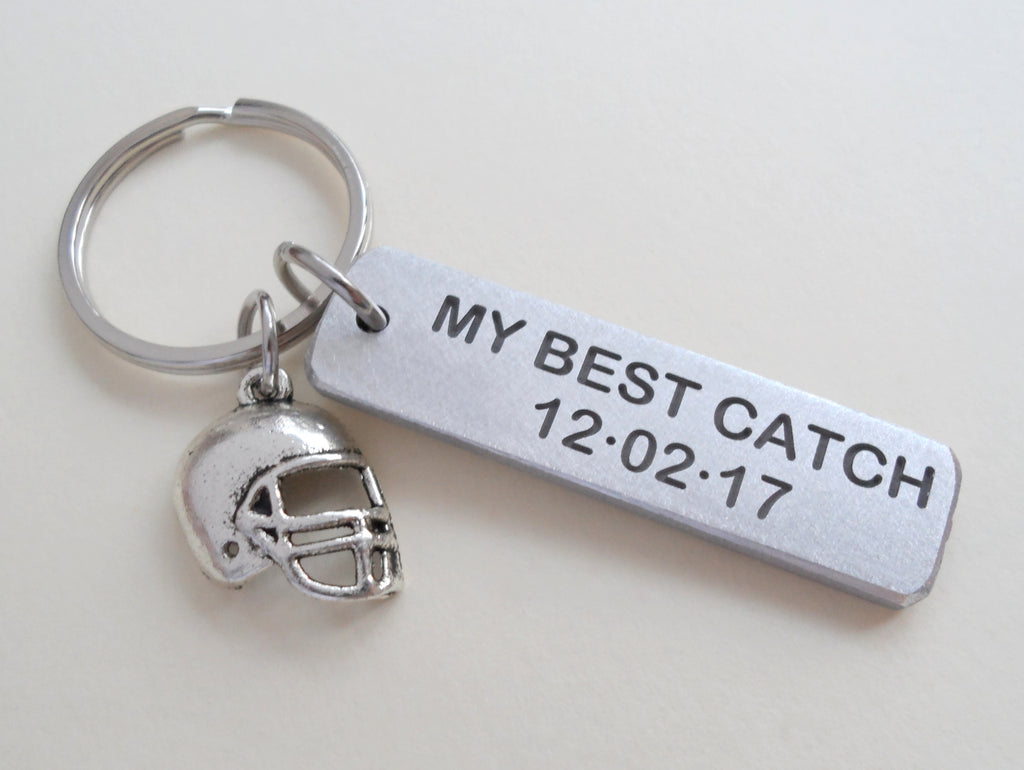 Custom Engraved Aluminum Keychain Tag with Football Helmet Charm; Couples Keychain