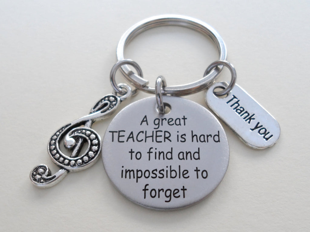 Treble Clef Charm with Engraved Disc Keychain, Music Teacher Gift, Teacher Appreciation Gift