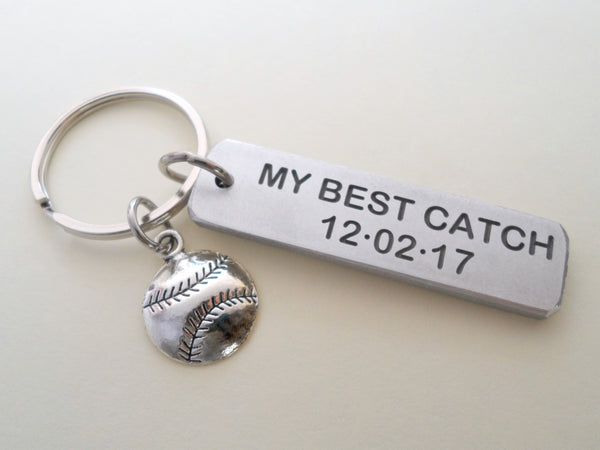"Personalized ""My Best Catch"" Engraved Aluminum Tag Keychain and Softball Baseball Charm Keychain; Couples Keychain"