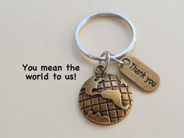 "Employee Appreciation Gifts • ""Thank You"" Tag & Bronze World Globe Keychain by JewelryEveryday w/ ""You Mean The World To Us!"" Card."
