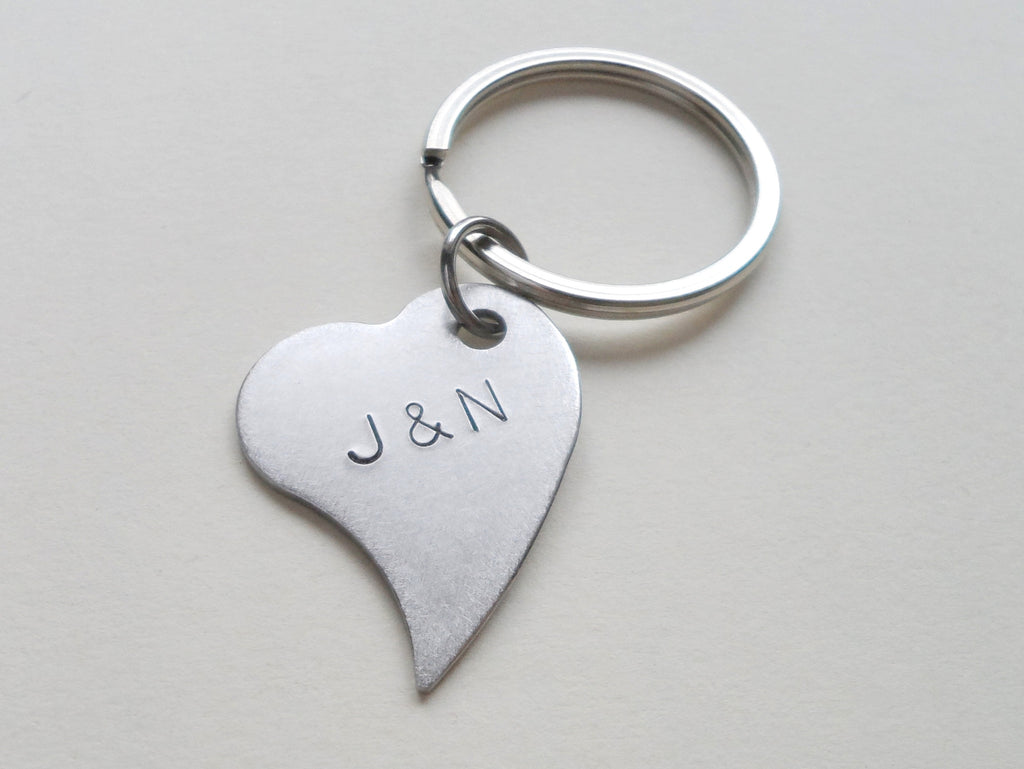 Custom Engraved Stainless Steel Heart Tag Keychain; 11 Year Anniversary Couples Keychain