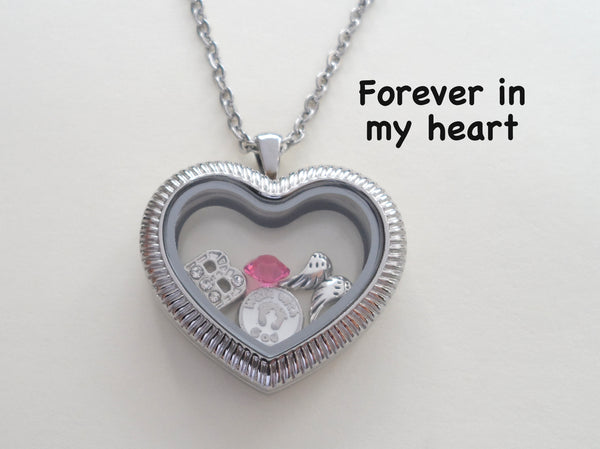 "Personalized ""Forever in My Heart"" Stainless Steel Side Heart Locket Necklace for Baby Loss Memorial w/ Birthstone and Initial Charm - by Jewelry Everyday"