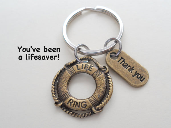 "Volunteer Appreciation Gifts  • ""Thank You"" Tag & Bronze Lifesaver Keychain by JewelryEveryday w/ ""You've been a lifesaver!"" Card"