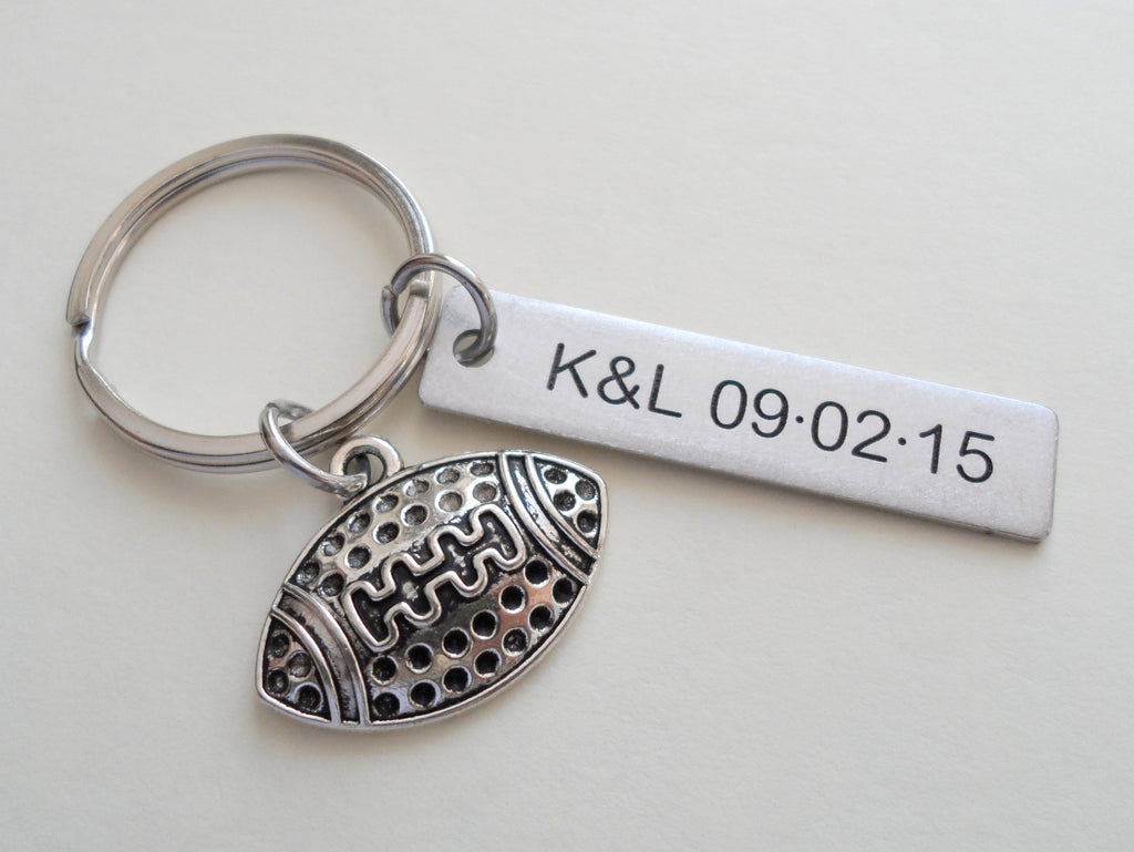 Football Ball Keychain and Steel Tag Custom Engraved, Football Keychain Gift