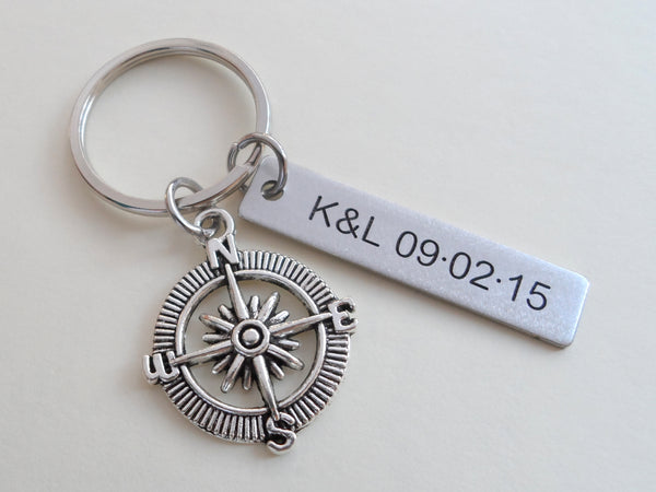 Open Metal Compass Keychain - I'd Be Lost Without You; Couples Keychain, Custom Engraved Tag Option
