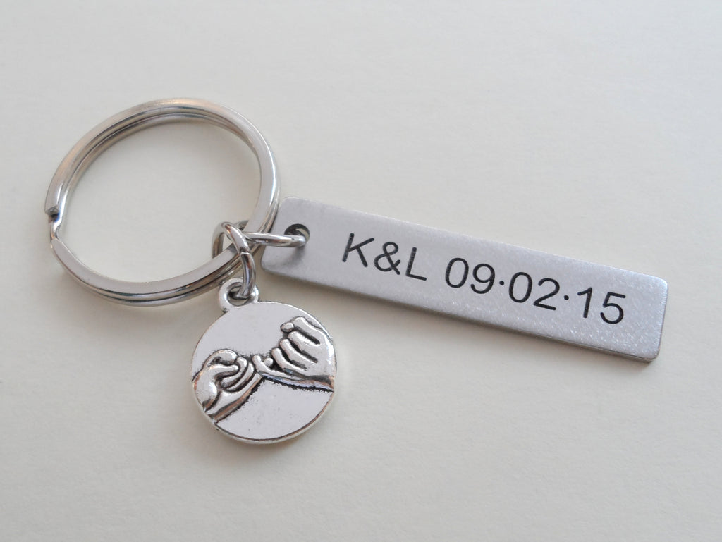 Personalized Pinky Promise Charm Keychain With Engraved Steel Tag; Couple Keychain, Promise Gift
