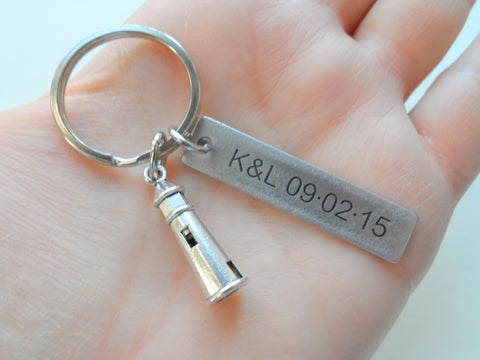 Lighthouse Keychain with Custom Engraved Steel Tag - Lost Without You; Couples Keychain