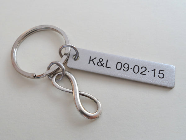 Stainless Steel Tag Keychain Custom Engraved with Infinity Charm; 11 Year Anniversary Couples Keychain