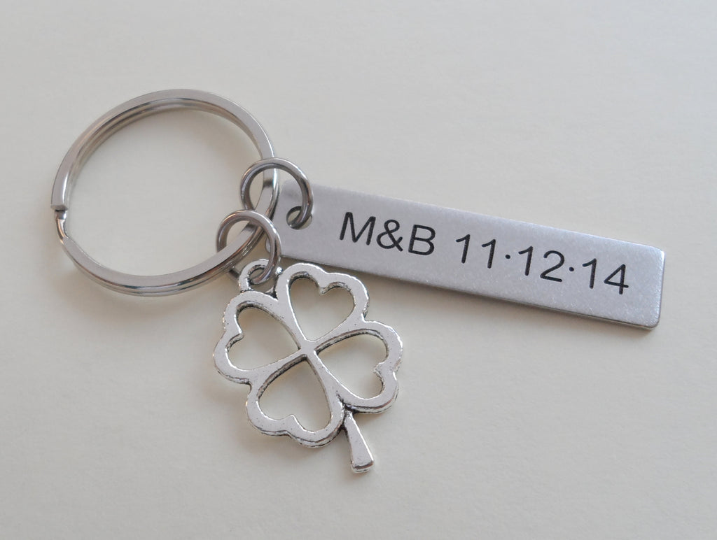 Custom Engraved Steel Tag Keychain With Clover Charm, Anniversary Gift