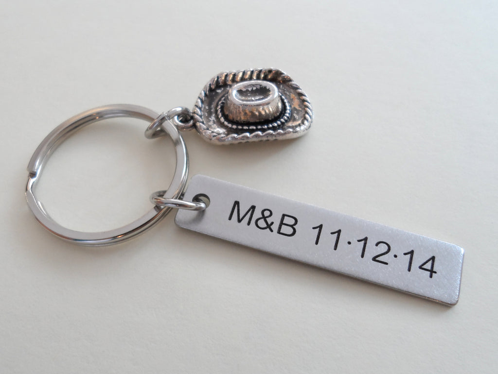 Cowboy Hat Keychain with Custom Engraved Stainless Steel Tag