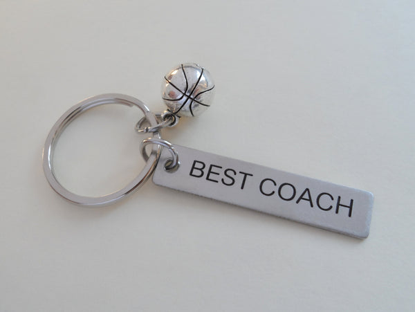"Basketball Coach Appreciation Gift • Engraved ""Best Coach"" Keychain 