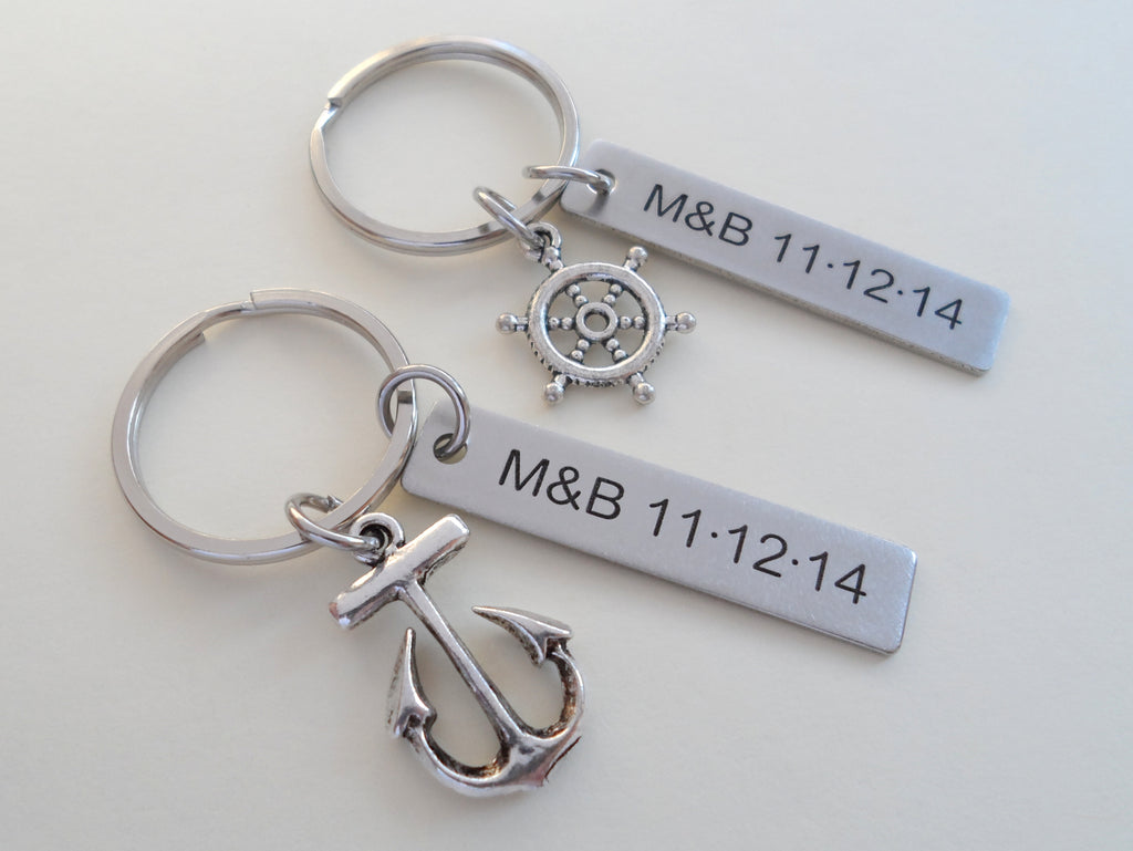 Small Ships Helm & Anchor Keychain Set - You Be My Anchor, I'll Keep You Afloat; Couples Keychain Set