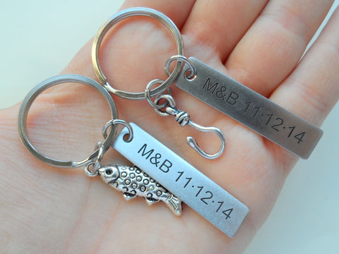 Spotted Fish and Hook Keychain Set Custom Engraved - A Great Catch, I'm Hooked on You; Couples Keychain Set