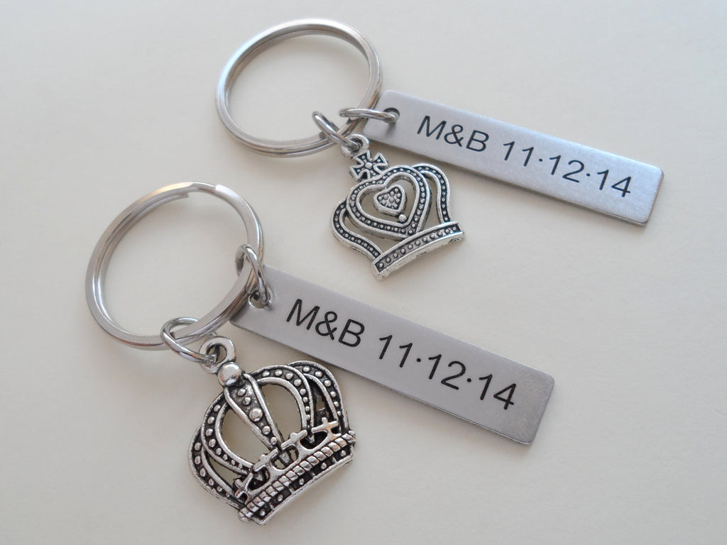 Silver Tone King and Queen Crown Keychain Set Custom Engraved - King & Queen; Couples Keychain Set