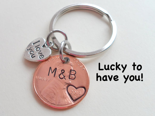 Personalized Penny Keychain Stamped with Heart Around the Year and Initials, Includes I Love You Heart Charm