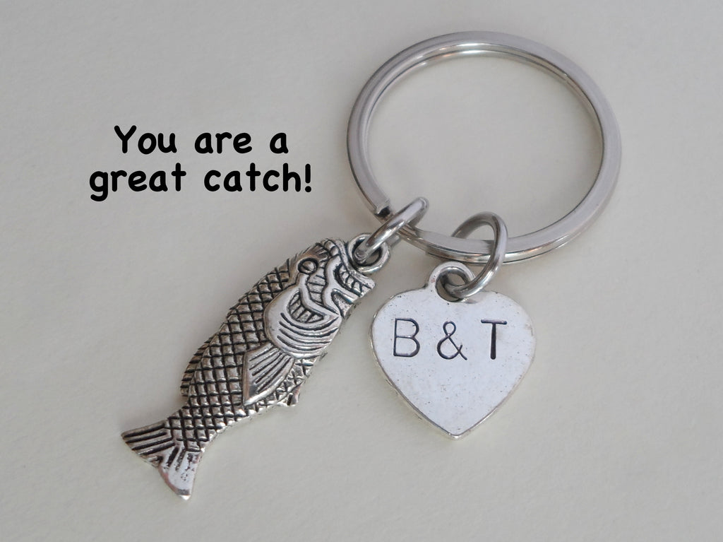 Silver Bass Fish Keychain - You Are A Great Catch; Couples Keychain, Custom Engraved Tag Option